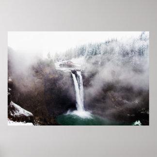 Foggy Winter Falls Poster