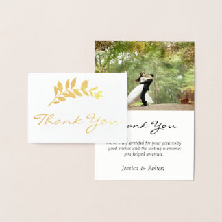 Foil Branch Wedding Photo Thank You Card