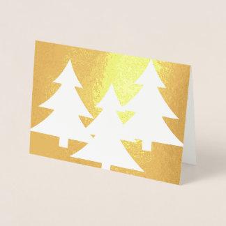 "Foil Card, Standard (5""x7""). Pine Trees on Gold Foil Card"