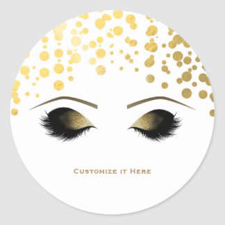 Foil Confetti Dots Gold Makeup Eyelashes Glam Classic Round Sticker