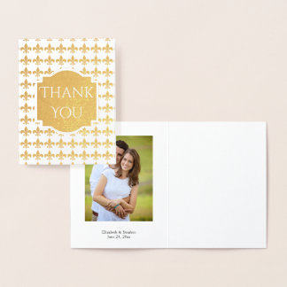 Foil Fleur de Lis Wedding | Bridal Thank You Photo Foil Card