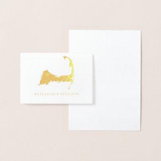 Foil Map of Detailed Cape Cod   Wedding Foil Card