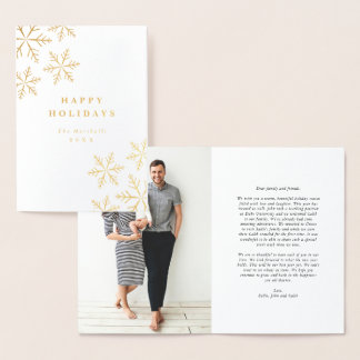 Foil snowflakes holiday greeting card
