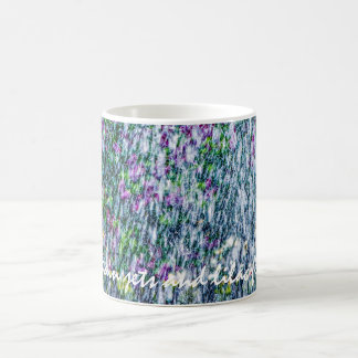 Fointain jets and lilac flowers coffee mug
