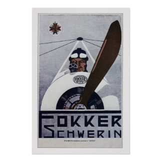 Fokker Schwerin WW1 Aviation Poster - large