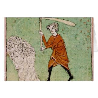 Fol.59r August: Threshing Wheat Card