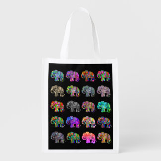 Folclore colorful ornamental parading elephants reusable grocery bag