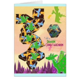 Fold a Cuboctahedron Dragon Pattern Craft Card