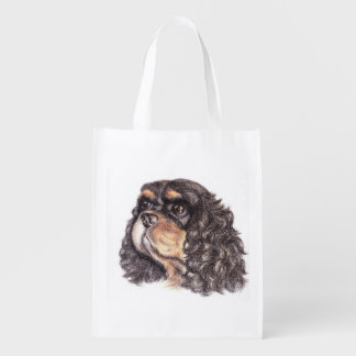 Fold-Away Shopping Back with Max The Cavalier Reusable Grocery Bag