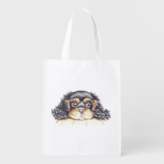 Fold-Away Shopping Bag with Puppy Max The Cavalier