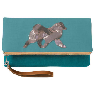 Fold-Over Clutch Purse - Copper Samoyed Design
