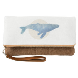 Fold Over Clutch - Whale Print