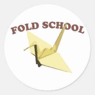 Fold School (Origami) Classic Round Sticker