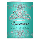 Folded Card Quinceanera Teal Glitter Tiara Photo