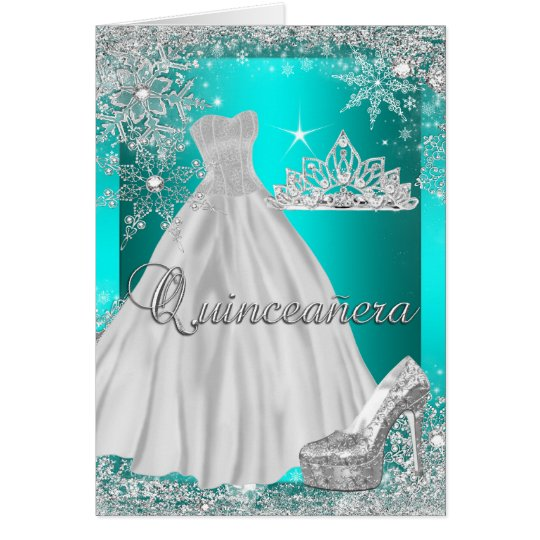 Folded Card Quinceanera Teal Tiara Photo