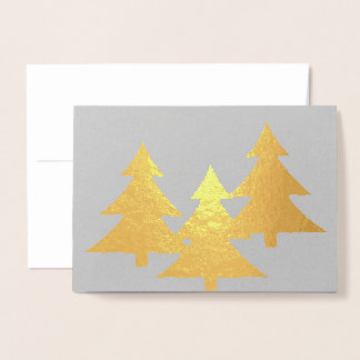 Folded Greeting Card with Gold Pine Trees