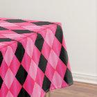 Folded Harlequin,Pink-Black-52x70 TABLECLOTH