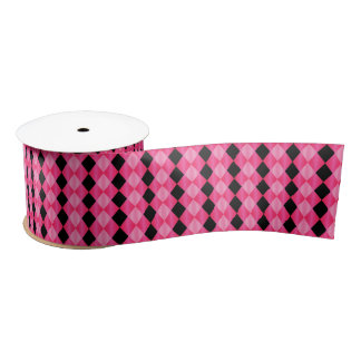 Folded Harlequin,Pink-Black-SATIN RIBBON SPOOL Satin Ribbon