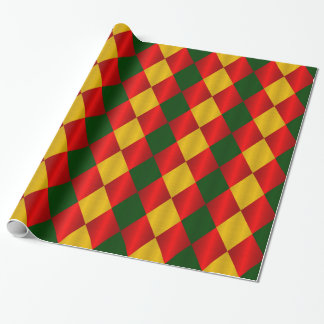 Folded Harlequin-Red-Green-Gold-GIFT WRAP PAPER