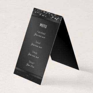 Folded Menu Card Crystal Bling Strass