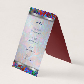 Folded Menu Card Floral Abstract Stained Glass