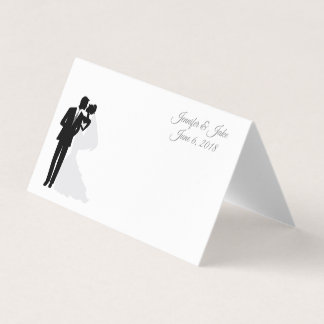 Folded Name Place Card-Wedding Couple-Custom Names Place Card