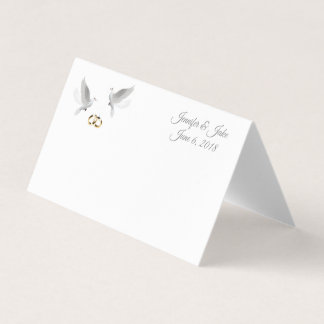 Folded Name Place Card-Wedding Doves-Custom Names Place Card