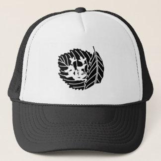 Folded oak leaf worm-eaten trucker hat