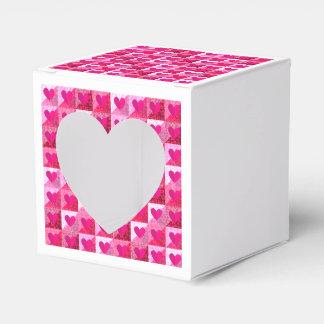 Folded Pink Hearts Pattern Heart Favor Box