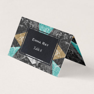 Folded Place Card Marble Geometric G430