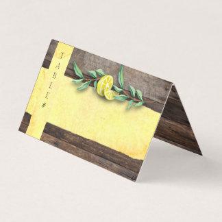 FOLDED PLACE CARDS | Rustic Wood Lemon Wedding