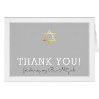FOLDED THANK YOU bar mitzvah gold star of david Card