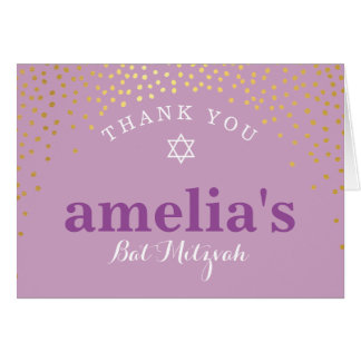 FOLDED THANK YOU bat mitzvah gold confetti purple Card