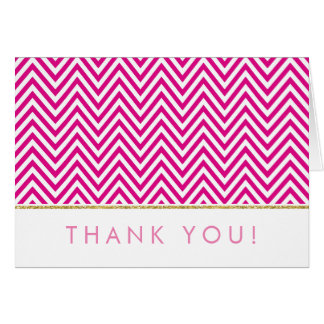 FOLDED THANK YOU bold chevron pattern pink gold Card
