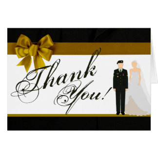 Folded Thank You Card ARMY Uniform Groom Bride Sol