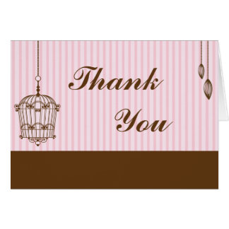 Folded Thank You Card Birdcage/Pink Stripes cage