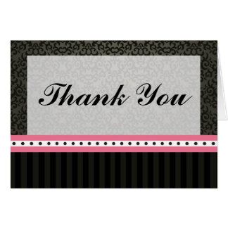 Folded Thank You Card Damask/Stripes Pink Crown