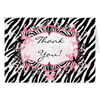 Folded Thank you Card Girly Butterfly Zebra Print