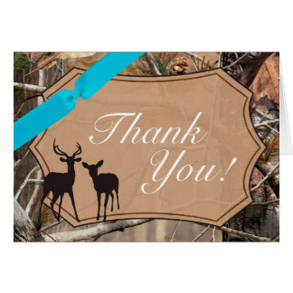 Folded Thank You Card Hunters Camo Camoflauge Deer