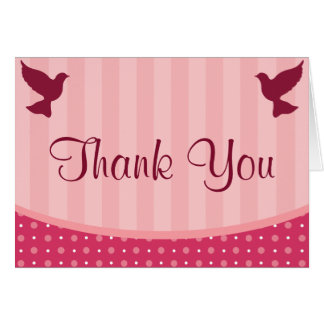 Folded Thank You Card Love Birds Pink Stripes/Dots