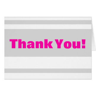 Folded Thank You Card Modern Neon Stripe Pink
