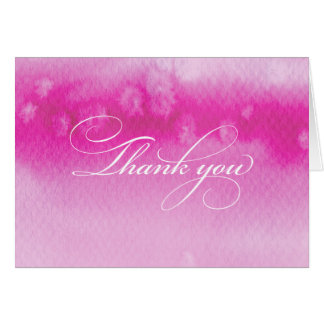 FOLDED THANK YOU CARD ombre watercolor dark pink