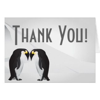 Folded Thank You Card Penguins Mate for Life Gray