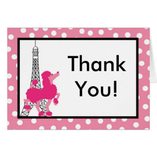 Folded Thank you Card Pink Poodle Paris Eiffel