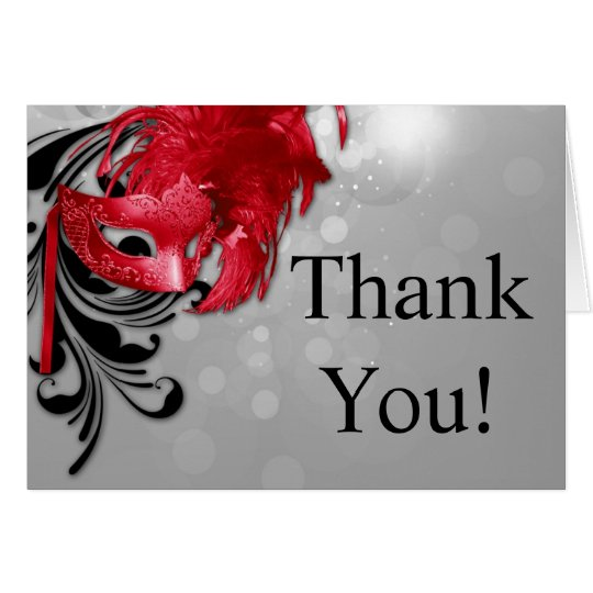 Folded Thank You Card Red on Silver Masquerade