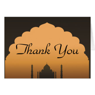 Folded Thank You Card Taj Mahal Sunset Orange Yell