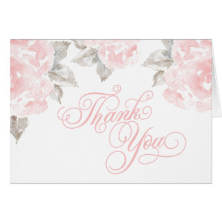 Folded Thank You Cards | Pink Watercolor Roses