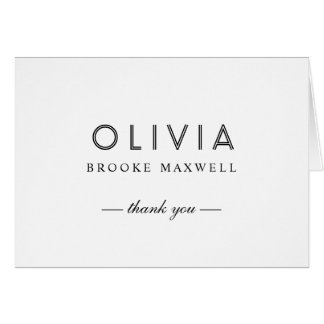 Folded Thank You Note Cards | Black and White
