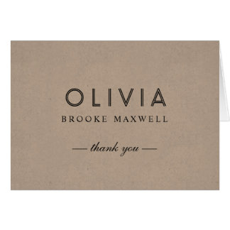 Folded Thank You Note Cards | Kraft Brown
