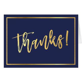 FOLDED THANKS bar mitzvah gold script navy blue Card